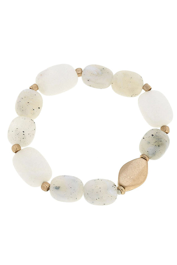 Aerin Beaded Stretch Bracelet in White
