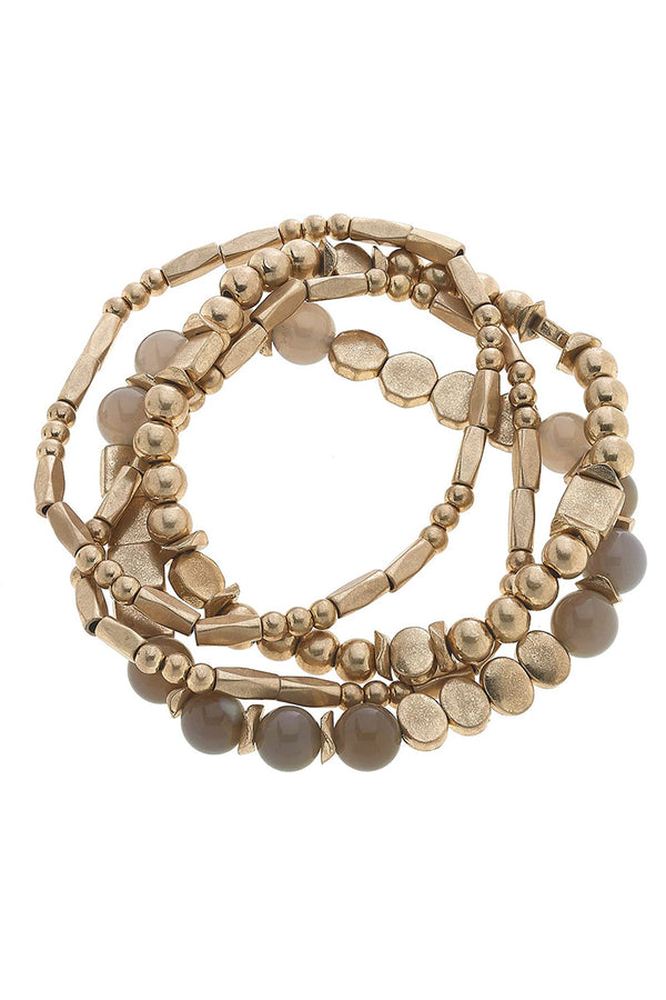 Lola Faux Gemstone & Ball Bead Bracelet Stack In Gray