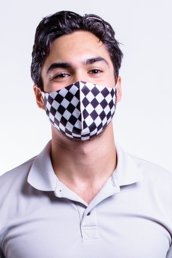 Checkered Stretch Mask Med/Large