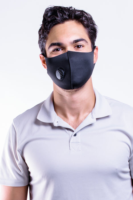 Men's Solid Black Stretch Mask w/ filter valve From PinkTag
