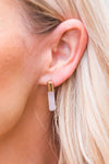 White Modern Drop Bar Earrings