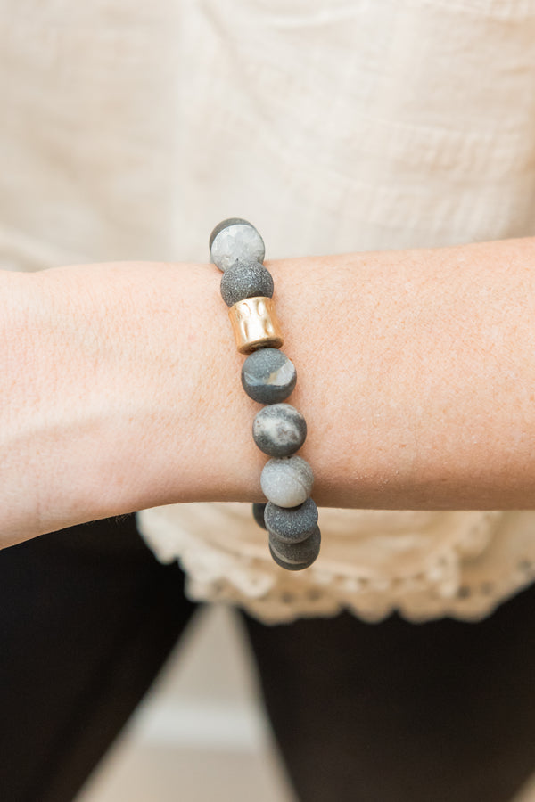 Charcoal Stone Nugget Bracelet