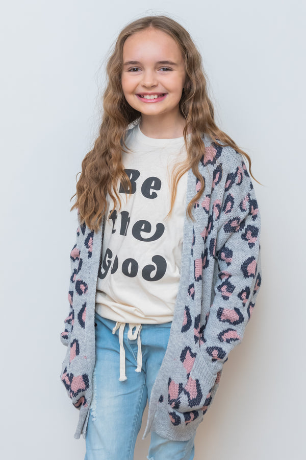 Gray What Goes Around Leopard Cardigan - Kids
