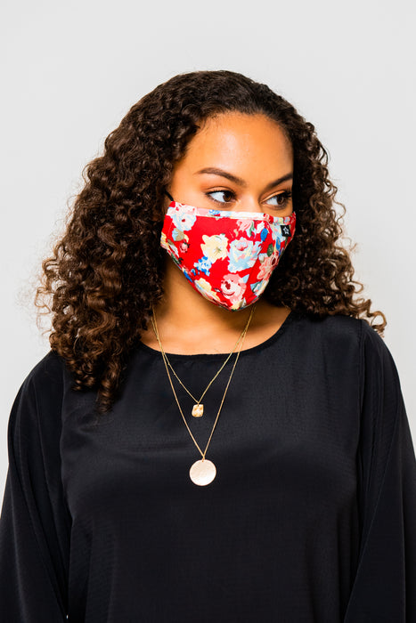 Beautiful Red Floral Premium Mask - Includes 4 Filters