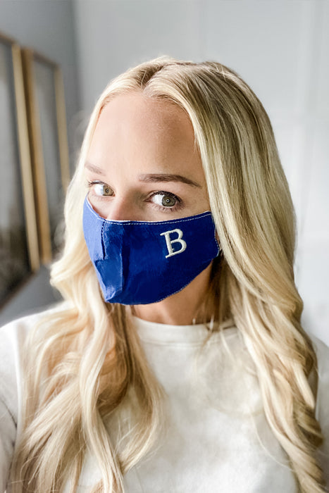 Navy Embroidered Initial Simple Mask