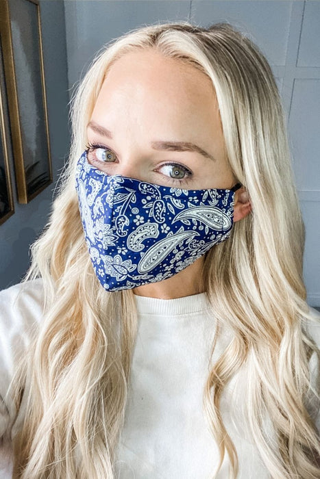 Navy Paisley Premium Mask - Includes 4 Filters