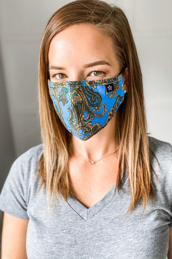 Blue/ Gold Paisley Premium Mask - Includes 4 Filters From PinkTag