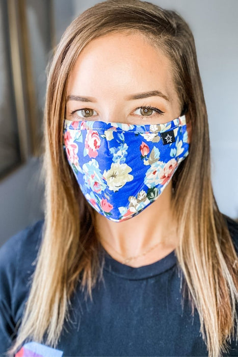 Beautiful Blue Floral Premium Mask - Includes 4 Filters