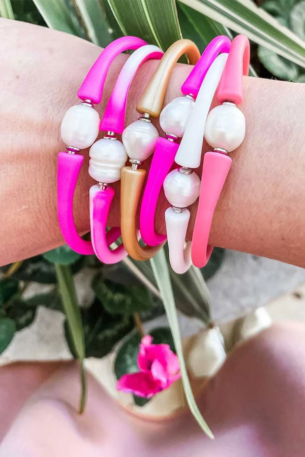 Bali Freshwater Pearl Silicone Bracelet in Tie Dye Pink From Pink Tag