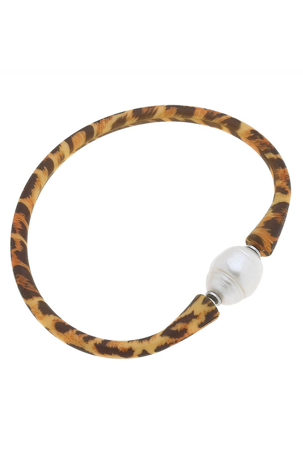 Bali Freshwater Pearl Silicone Bracelet in Leopard Print