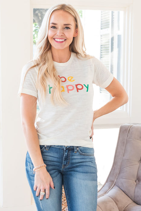 Be Happy Adult Tee