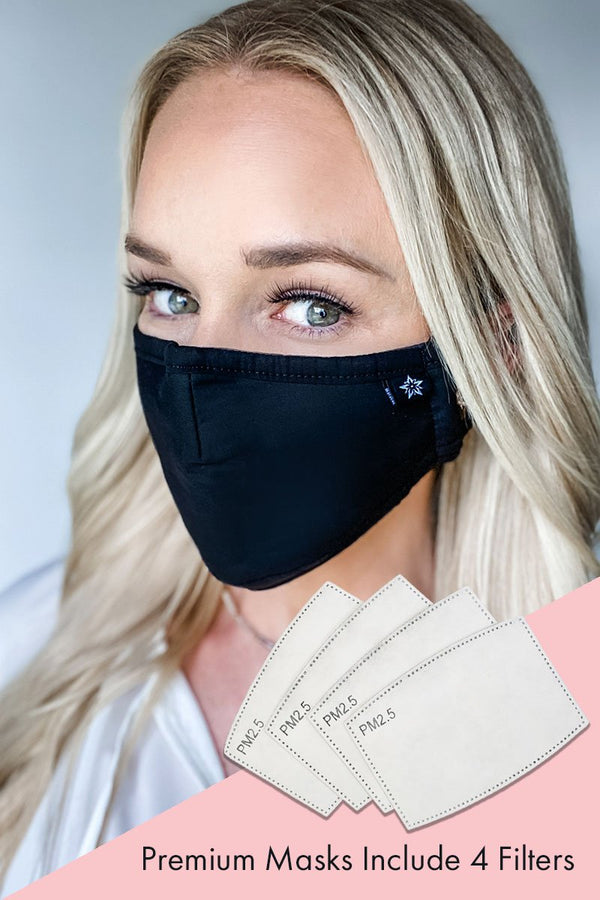 Solid Black Premium Mask - Includes 4 Filters