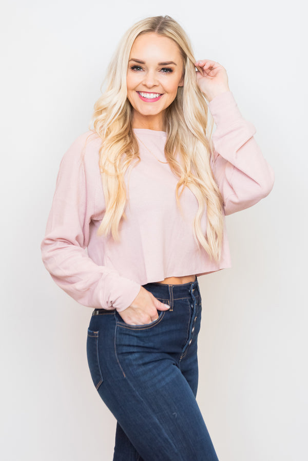 Blush Pink Set The Tone Waffle Knit Crop Top