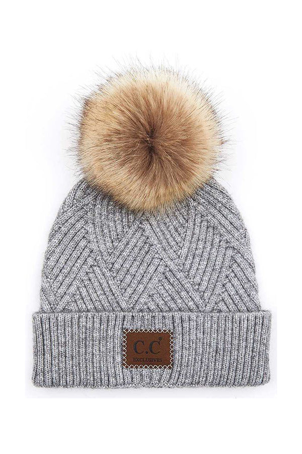 Gray Bundle Up Pom Pom Beanie