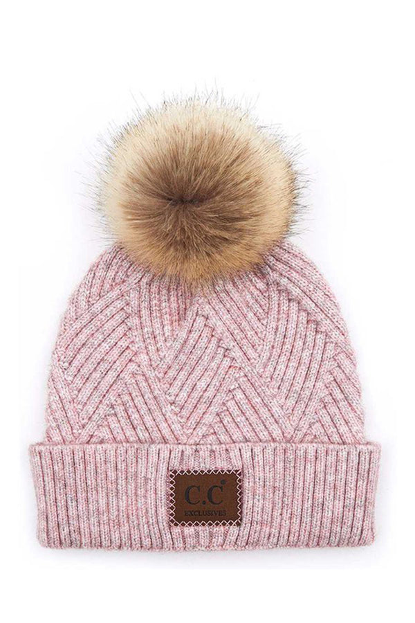Pink Bundle Up Pom Pom Beanie