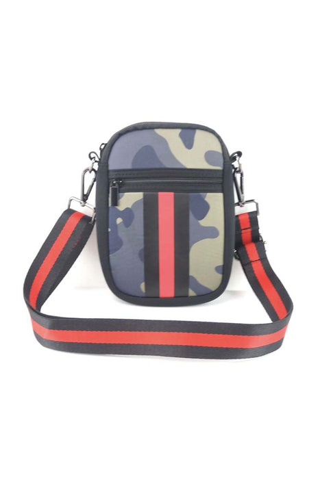 Camo & Red/Black Stripe Neoprene Cellphone Crossbody