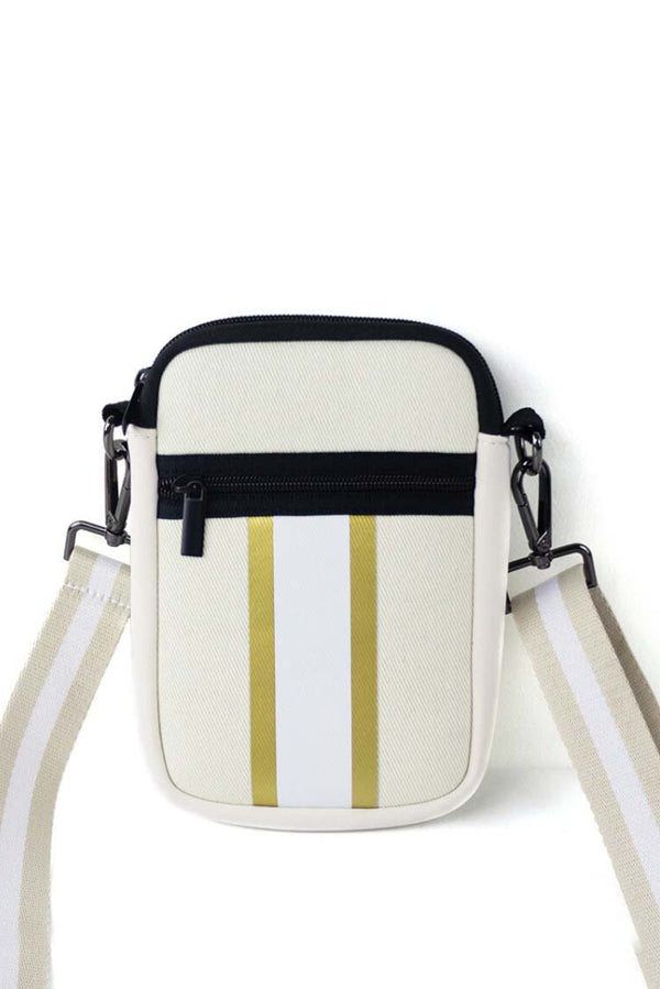 Canvas White & Gold Stripe Neoprene Cellphone Crossbody