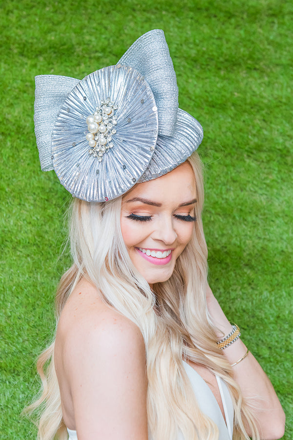 Center Stage Silver Fascinator