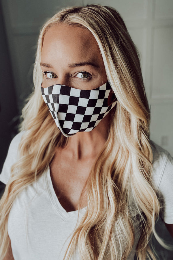 Black and White Checkered Stretch Mask Med/Large