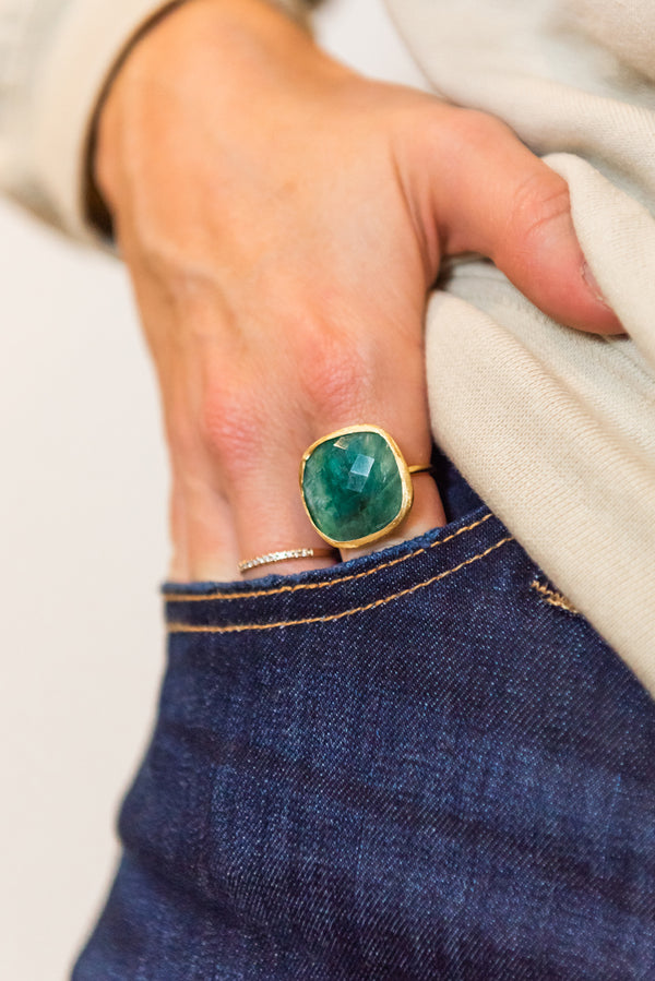 Cushion-Shaped Stone Brushed Ring