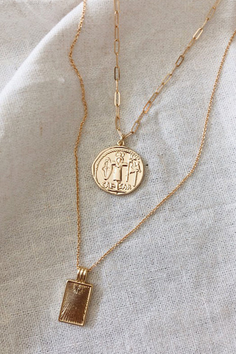 Caesar Pendant Necklace (14K Gold Filled)