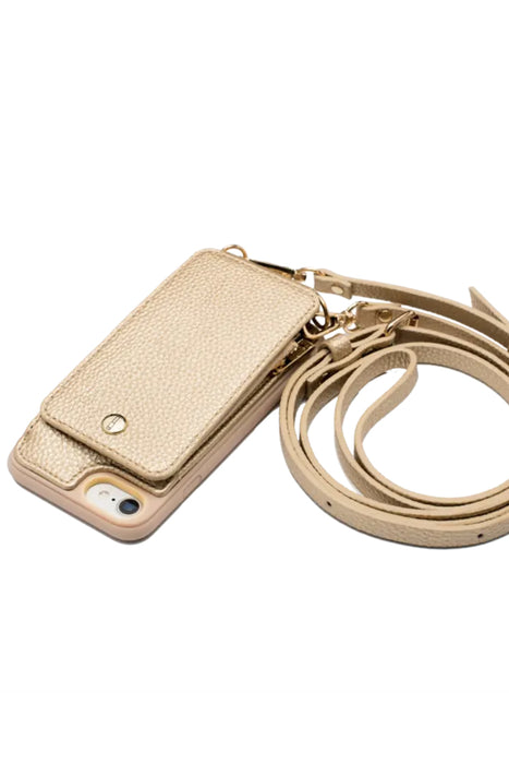 Gold Crossbody Wallet & Case for iPhone 6+ / 7+ / 8+