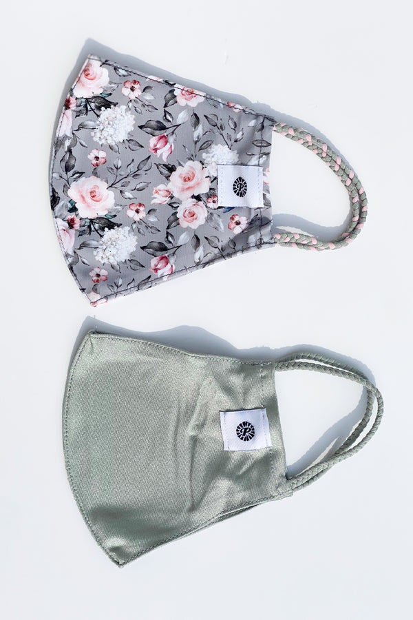 Gray Floral Masks- 2-Pack