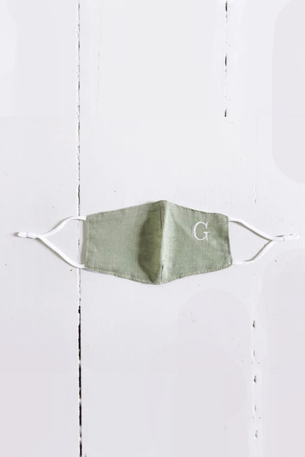 Sage Embroidered Initial Simple Mask