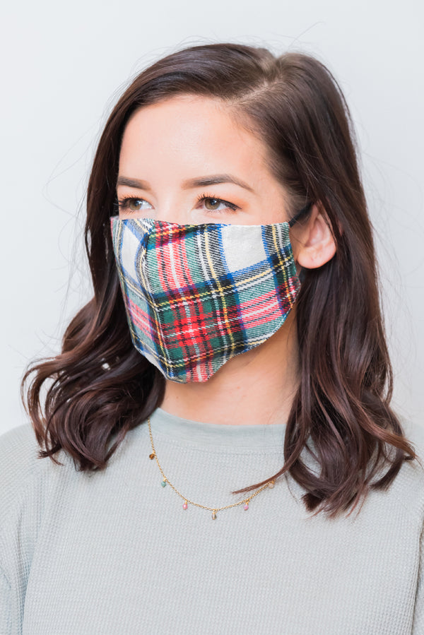 Green Plaid Pattern Next Level Mask