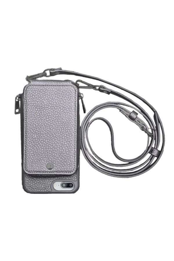 Gun Metal Crossbody Wallet & Case for iPhone 6+ / 7+ / 8+