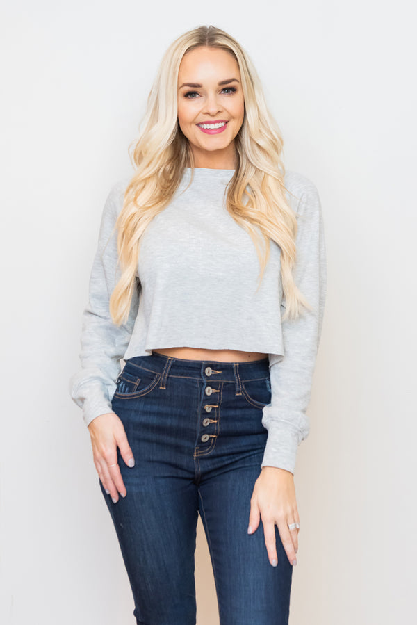 Heather Gray Set The Tone Waffle Knit Crop Top
