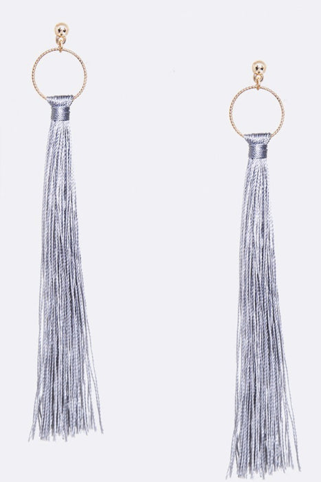 Hello Lovely Gray Tassel Earrings