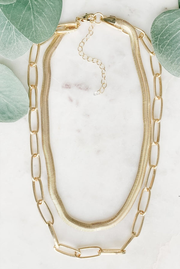 Herringbone Layered Chain Necklace