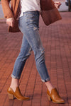 Woman Wearing Like Me For Me Boyfriend Jeans