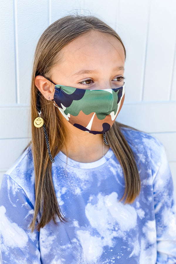Green Camo Next Level Kids Mask