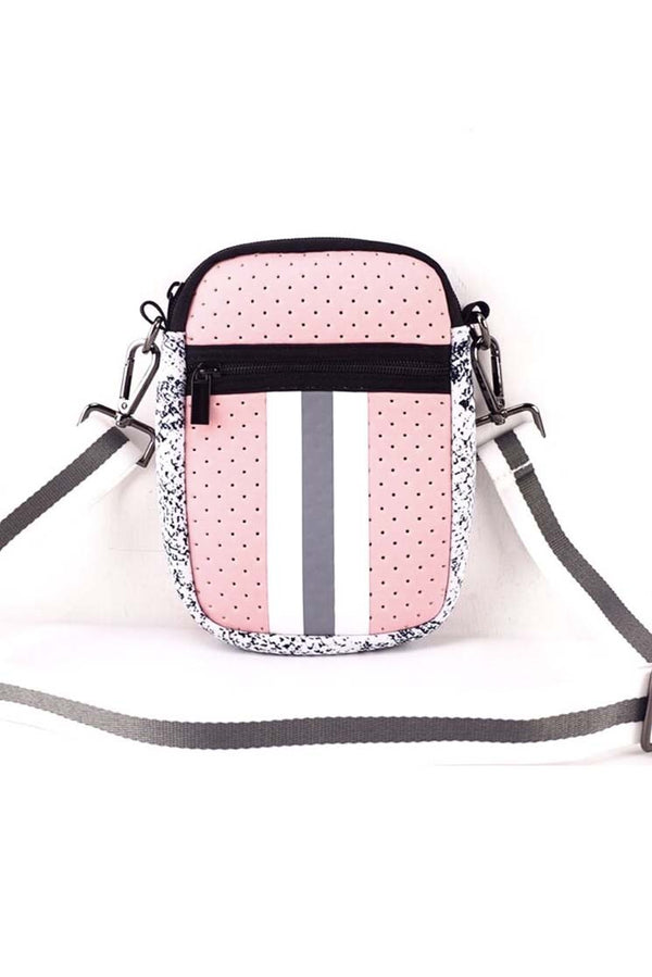 Pink & Gray Stripe Neoprene Cellphone Crossbody