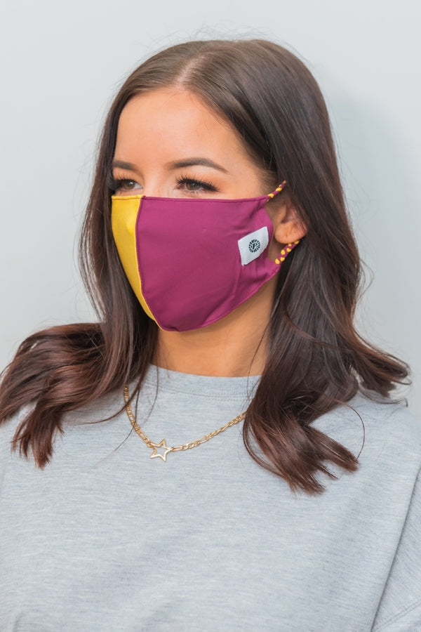 Burgundy & Yellow Gold Simple Masks- 2-Pack