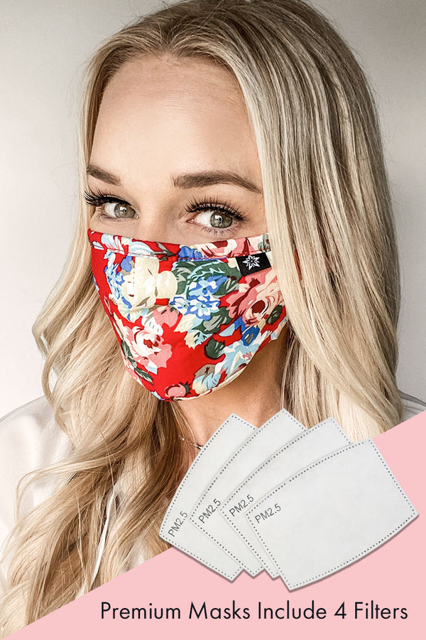 Red Floral Premium Mask - Includes 4 Filters