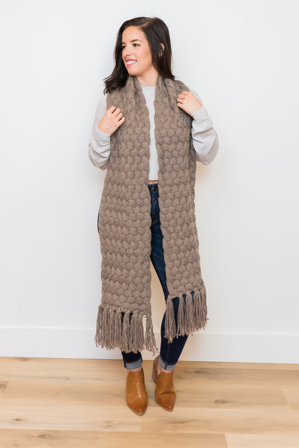 Basket Weave Wrap Scarf - Mocha from PinkTag