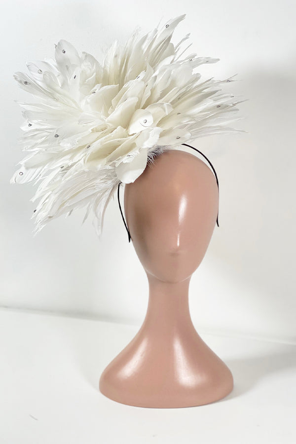 Show Stopper Fascinator- White