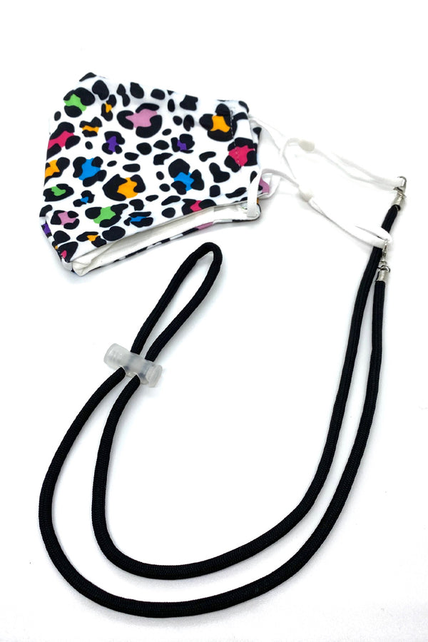 A Black Adjustable Solid Lanyard & Mask