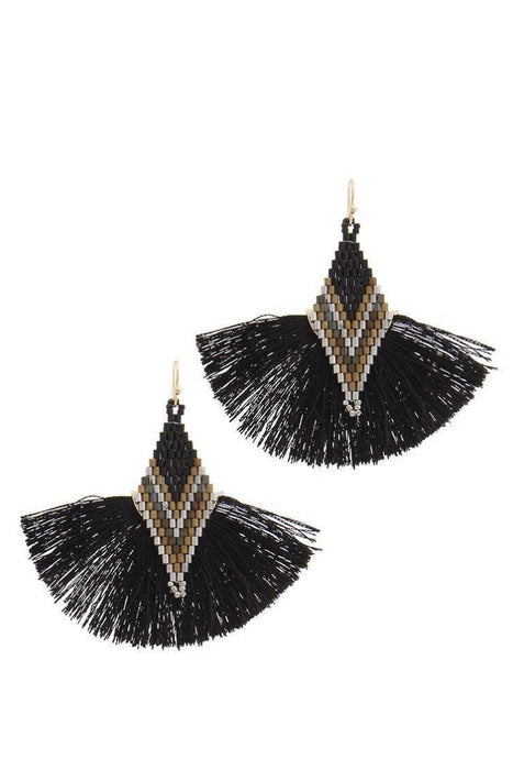 Tell Your Tale Tassel Black Earrings