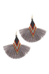 Tell Your Tale Tassel Gray Earrings