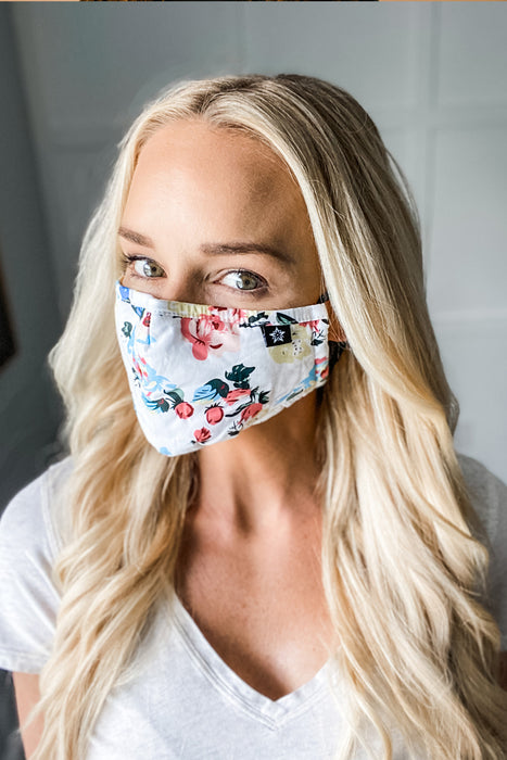 Beautiful White Floral Premium Mask - Includes 4 Filters