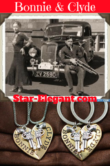 Bonnie & Clyde Pendant Necklaces Or Keychains - 2Pcs - Necklace