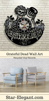 Grateful Dead Art Vinyl Record Wall Clock