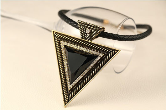 Triangle Pendants Rope Chain - Gold - Necklace
