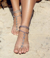Vintage Silver Turquoise Barefoot Sandals - Rounds With Ring - Anklets