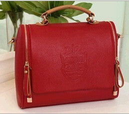 Barrel-Shaped Ladies Shoulder Messenger Bags - Red - Handbag