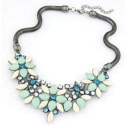 Retro Style Colorful Gem Rhinestone Flower Choker Necklace - Blue 31A37